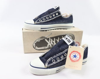 505c9271df31fb 90s New Converse Chuck Taylor All Star Low Inside Out Denim Sneakers Shoes  Mens Size 5 Womens 7 Navy Blue Ash