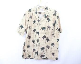 d891d185 80s Hawaii Magnum PI Palm Tree Hawaiian Shirt Tan Cotton USA Mens Large,  Vintage Magnum PI Hawaiian Shirt, Palm Tree Print Hawaiian Shirt