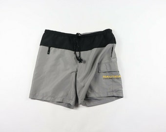 21a155148c10f 90s Nautica Competition Spell Out Swim Trunks Shorts Summer Mens Medium  Gray, Vintage Nautica Swim Shorts, 1990s Mens Shorts, Vintage Mens