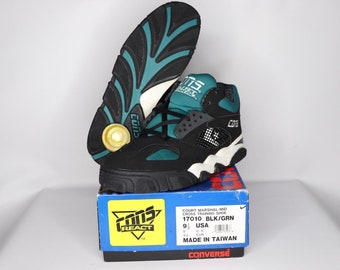 wholesale dealer 9b4d1 9fa84 90s New Converse Cons React Court Marshal Mid Basketball Shoes Mens Black  Teal, Vintage Converse Sneakers, Converse Basketball Shoes Mens