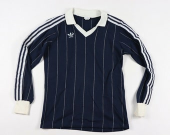 a24037a18a0 80s Adidas Trefoil Logo Long Sleeve Spell Out World Cup Soccer Futbol Jersey  Mens Small Navy Blue