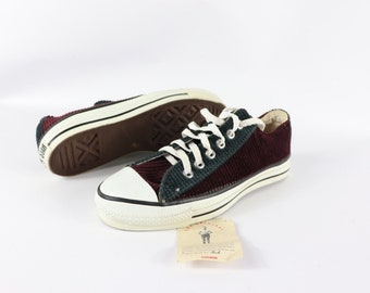 20bec3c3be6218 90s New Converse Chuck Taylor All Star Low Corduroy Shoes Mens 5.5 Womens  7.5 Maroon Blue Green Made in USA