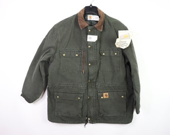 5c9da84d5d 90s New Carhartt Full Zip Lined Denim Chore Barn Jacket Mens XL Green, Vintage  Carhartt Work Jacket Coat Mens, Vintage Carhartt