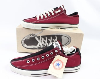 0f1b68090745 90s New Converse Chuck Taylor All Star Low Bowling Maroon Black Mens 10  Womens 12 Canvas Made In USA