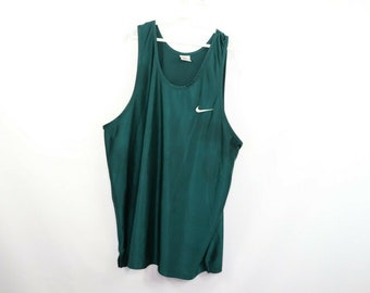 bd14c8b43b4017 90s Nike Swoosh Logo Sleeveless Tank Top Jersey Shirt Mens XL Green