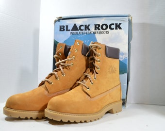 super popular 3bb15 45fc2 90s Black Rock New Mens 9 Nubuck Leather 8 inch Work Boots Waterproof  Insulated, Vintage Work Boots, Black Rock Boots, 90s Boots