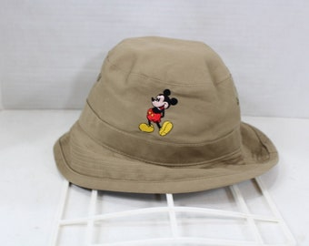 d3b0ef77ee9c0 90s Walt Disney Mickey Mouse Stitched Bucket Boonie Hat Khaki Cotton