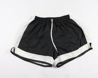 455cad595 90s New Bola Nylon Running Soccer Shorts Black White Mens Large