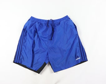 78484e7a9 90s Adidas Lined Spell Out Striped Nylon Soccer Shorts Blue Mens Large