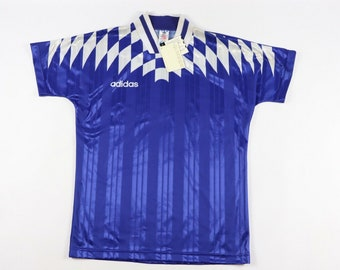 646653a18 90s New Adidas Spell Out Diamond Print Futbol Soccer Jersey Shirt Mens  Medium Blue White