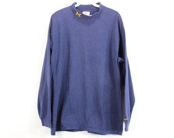 7090c335 90s Nike Michigan Wolverines Long Sleeve Mock Turtleneck Shirt Mens Large  Navy Blue, Vintage Nike Sweater, Michigan Wolverines Sweater