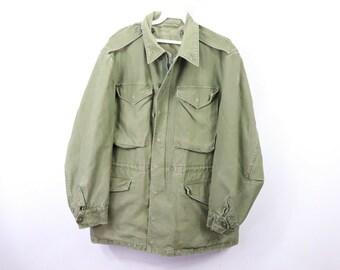 a75967ba155 60s Vietnam War 1961 Sateen 9oz Military M-51 Army Field Jacket Mens Large  Green