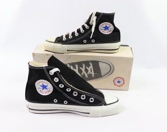 38ee1cc9bd0ebb 90s New Converse Chuck Taylor All Star Hi Canvas Sneakers Shoes Mens Size 5  Womens 7 Black White