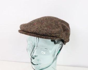 6025ea01 80s Hanna Hats Donegal Wool Newsboy Cabby Hat Cap Brown Mens Medium,  Vintage 80s Irish Donegal Wool Newsboy Hat, Vintage 80s Cabby Hat,