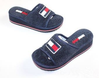 7bbc96e7d 90s New Tommy Hilfiger Big Flag Logo Spell Out Slip On Sandals Slipper  Womens Small US Size 4-5