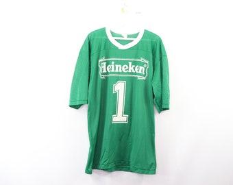 d89aab829ff 80s Heineken Spell Out Beer Mesh Football Jersey  1 Green USA Mens XL
