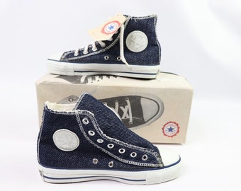 336fa3bb53c2cb 90s New Converse Chuck Taylor All Star Hi Inside Out Denim Shoes Navy Grey  Mens 5 Womens 7 USA