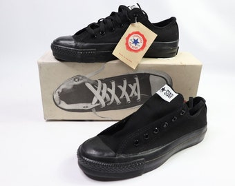 9033d07db0a4 90s New Converse Chuck Taylor All Star Ox Black Monochrome Mens 6.5 Womens  8.5 Canvas Made In USA