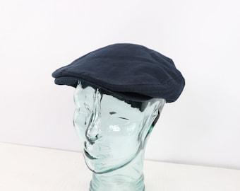 a67fc2bd05937 90s Polo Ralph Lauren Mens L XL Linen Newsboy Cabby Hat Cap Navy Blue