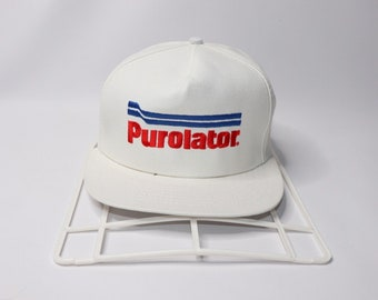 a2e5993fdd3 80s Purolator Canada Shipping Courier Spell Out Snapback Hat Cap White