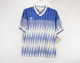 2cc79284a45 80s New Umbro Mens Medium Spell Out Diamond Soccer Jersey Royal Blue, 80s  Umbro Spell Out, Umbro Soccer Jersey, 80s Soccer, 80s Umbro