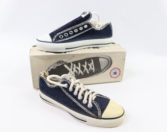 837478803c90 90s New Converse Chuck Taylor All Star Low Inside Out Denim Sneakers Shoes  Mens Size 4.5 Womens 6.5 Navy Blue Ash