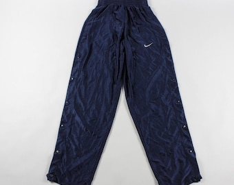9c4e53fde50c 90s Nike Snap Button Tearaway Athletic Warm Up Running Pants Navy Blue Mens  Small