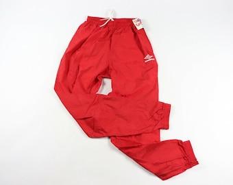 dfb7bbf499 90s New Umbro Soccer Spell Out Nylon Joggers Jogger Pants Mens Medium Red,  Vintage Umbro Joggers, Vintage, Mens Jogger, 1990s Mens Pants
