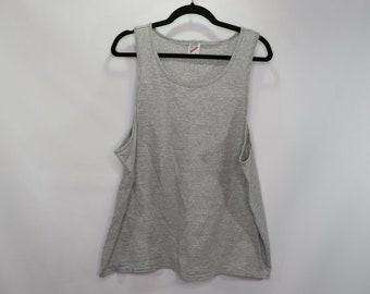 55fc16f6a1f93 90s Blank Bodybuilder Weightlifting Tank Top Shirt Mens Large Gray