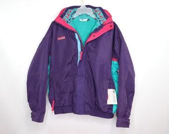6cbf3c9e83a0c 90s New Columbia Bugaboo 2 in 1 Full Zip Parka Winter Fleece Jacket Purple  Mens Large