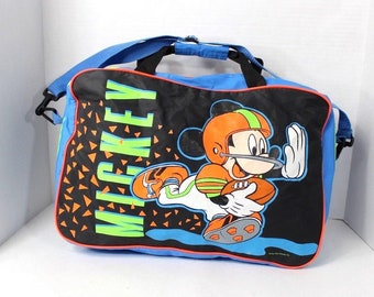 afd17ef2defd 90s Disney Mickey Mouse Football Spell Out Duffel Duffle Gym Weekender Bag