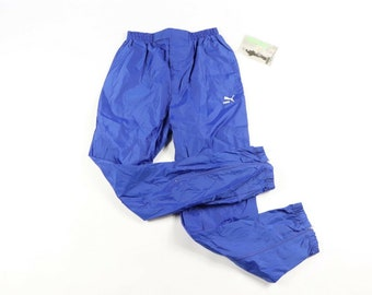 d790ccd3c84c 90s New Puma Spell Out Waterproof Nylon Soccer Rain Pants Mens Small Royal  Blue