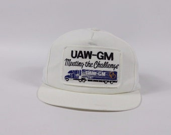 a3709b4d367ce 80s General Motors GM UAW United Auto Workers Patch Spell Out Car Leather  Strapback Hat White