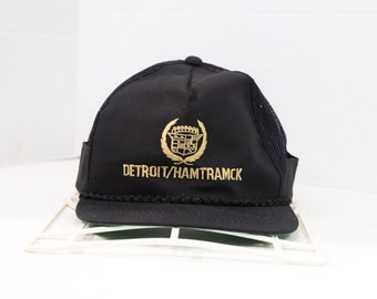 58c5f70520a5f 80s Cadillac Detroit Spell Out Roped Snapback Trucker Mesh Hat Cap Black