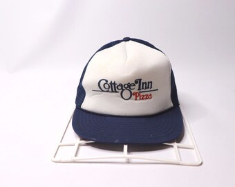 80s Cottage Inn Pizza Spell Out Roped Mesh Trucker Snapback Hat Cap Navy  Blue 4a48523c61b8