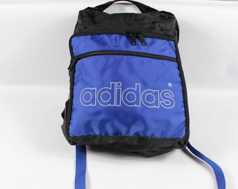 4234714153df 80s Adidas Trefoil Spell Out Nylon Backpack Book Bag Blue Black New