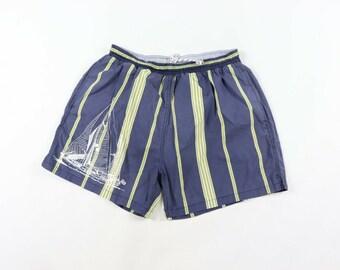 1cc22d1801 90s Color Block Striped Sailboat Print Swimming Swim Trunks Shorts Mens  Large, Vintage Striped Swim Trunks, Mens Summer Swim Shorts, 1990s