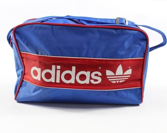 80s Adidas Trefoil Spell Out Nylon Handled Weekender Duffel Travel Bag Blue  Red New fe33917d3b750