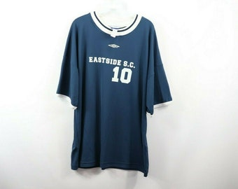 9200a90b411b9 90s Umbro Spell Out Short Sleeve Soccer Jersey Navy Blue Mens Large