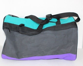 3b135781d7 90s Color Block Gym Duffle Duffel Carry On Travel Bag
