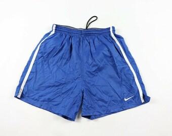 5ebebdb0b02754 90s Nike Swoosh Logo Nylon Running Jogging Athletic Soccer Shorts Mens  Medium Blue