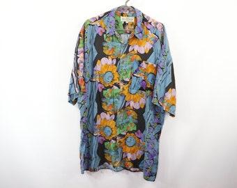 2ebda910 90s Abstract Floral Print Short Sleeve Hawaiian Shirt Mens Large Tall,  Vintage Abstract Print Shirt, 90s Shirt, Vintage Floral Shirt,