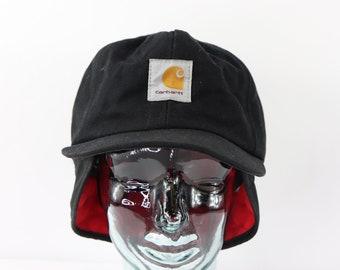 c00ebd22118 80s Carhartt Mens XL Waxed Cotton Ear Flap Denim Work Hat Black