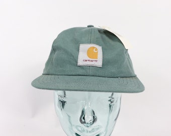 90s New Carhartt Spell Out Stone Washed Canvas Denim Snapback Hat Cap Blue cc0acc228b4