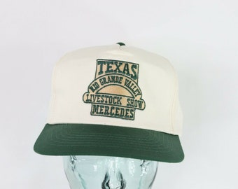 320e67ef 90s Deadstock Mercedes Texas Livestock Show Spell Out Snapback Hat White,  Vintage Texas Hat, 1990s Livestock Hat, Texas Snapback Hat 1990s