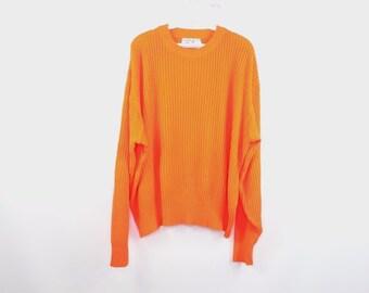 94f375c36ff 80s Duck Bay Ribbed Knit Outdoor Hunting Birding Crewneck Sweater Mens XL  Neon Orange