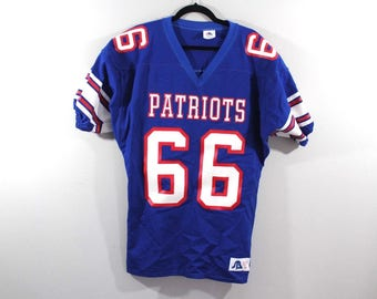 ea0447494 90s Deadstock Sports Belle New England Patriots NFL Football Jersey Mens  Blue