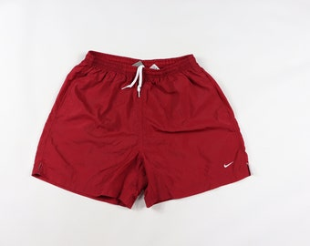 301b5eec13d 90s Nike Small Swoosh Logo Travis Scott Nylon Hiking Shorts Red Mens Medium  , Vintage Nike Swoosh Logo Shorts, Mens Shorts, 90s Nike Shorts