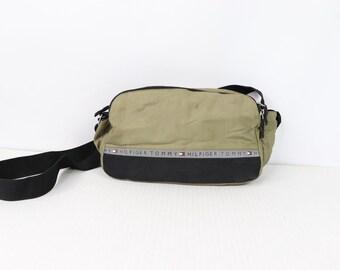 6f15419d432 90s Tommy Hilfiger Spell Out Reflective Crossbody Bag Olive Green Black, Vintage  Tommy Hilfiger Bag, 90s Tommy Bag, 90s Messenger Bag, 90s,