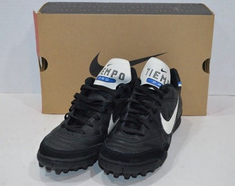 f842bc7efeb6 90s New NIKE Tiempo Pro III TF Leather Indoor Soccer Cleats Shoes Black  Mens Size 12, Vintage Nike Soccer Cleats, 90s Nike Shoes, Football